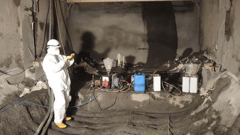 <p>Abdichtung Wassereinbrüche in der Bunkersohle mittels Polyuretanharz</p>